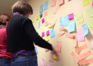 Roz and Lynda arranging our post-it notes into functional categories