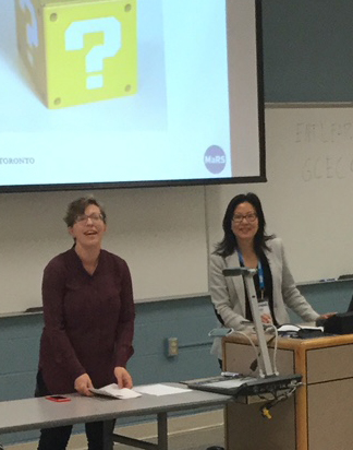 Carey Toney and Christina Kim speaking on how librarians support campus entrepreneurs