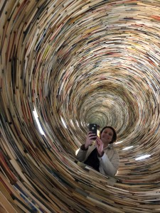 The Municipal Library of Prague features Matej Kren's Idiom, a tower of books that seems infinite because of the mirrors inside - perfect for a librarian selfie.