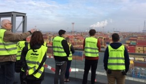 JMU students toward the Port of Antwerp, which is the second largest container port in Europe.