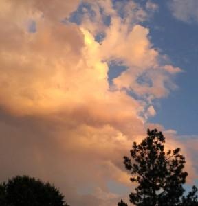 Sunset summer thunderstorm cloud