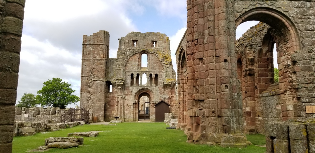 Lindisfarne Priory; built in the 12th century, long after the original Viking attacks. The Holy Island is a breathtakingly beautiful place
