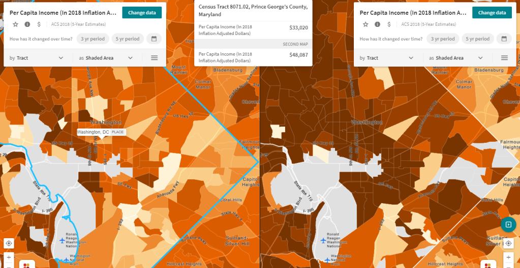 Split-view in Social Explorer: black versus white per capita income