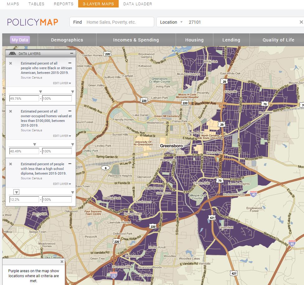 PolicyMap: redlining evidence in Greensboro, NC