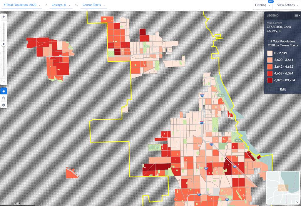 SimplyAnalytics: majority black Census tracks in Chicagoland