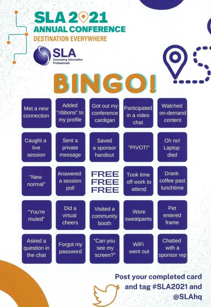 SLA bingo card that was in the swag box